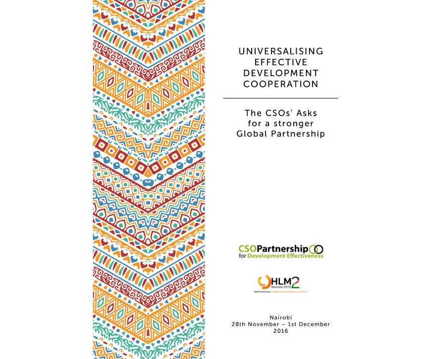 Universalising Effective Development Cooperation: The CSOs Asks for a stronger Global Partnership